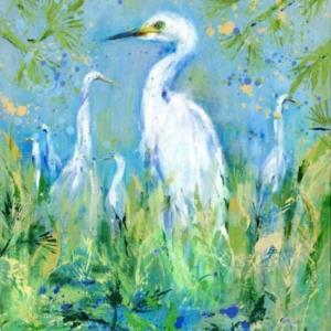 Emerging Egrets - Acrylic - 24 x 30