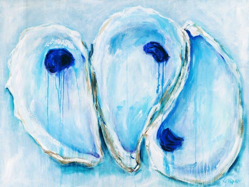 Oyster Trifecta  - Acrylic - 30 x 40, framed
